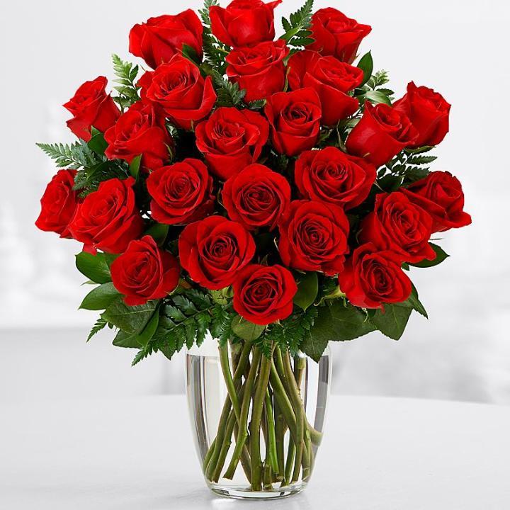25 Длинных Красных Роз с Зеленью