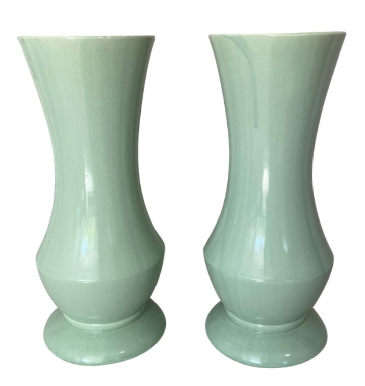 Brush McCoy celadon green vases antique