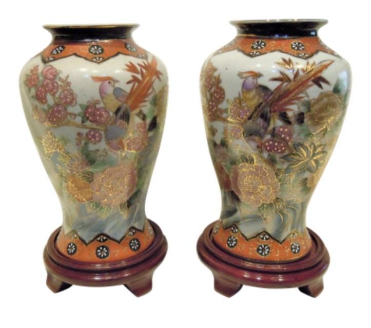 Antique Chinoiserie Asian Satsuma vases