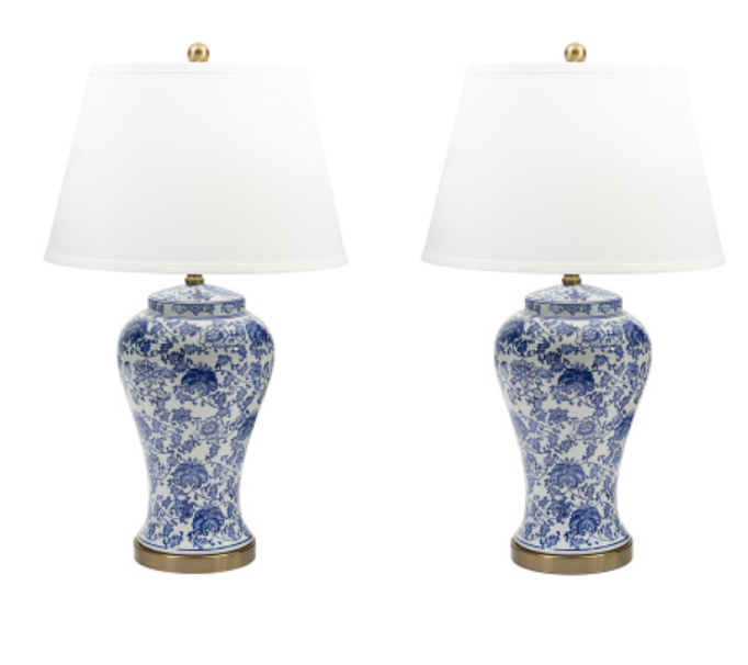 Ginger jar blue and white lamp pair