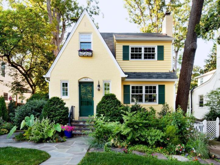 Yellow house green door