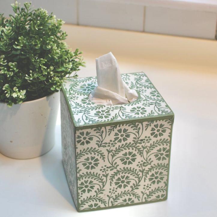Green tissue box cover