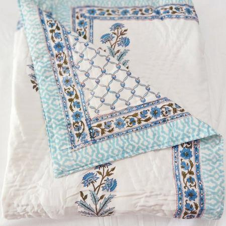 Aqua blue floral quilt