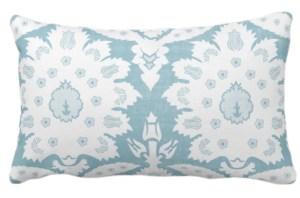 Aqua teal ikat lumbar pillow