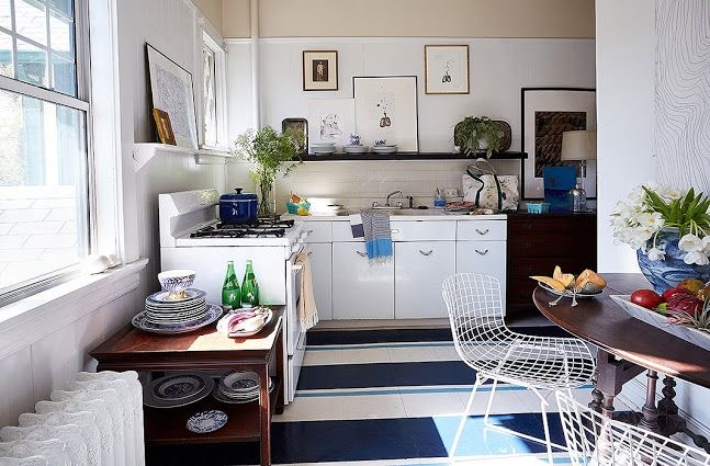 William McClure kitchen with blue and white painted wood floor