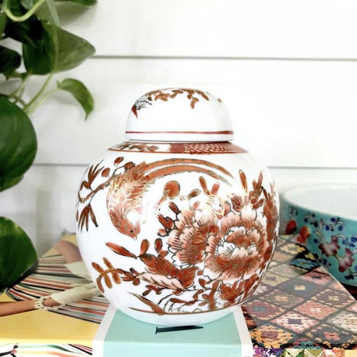 Vintage red ginger jar