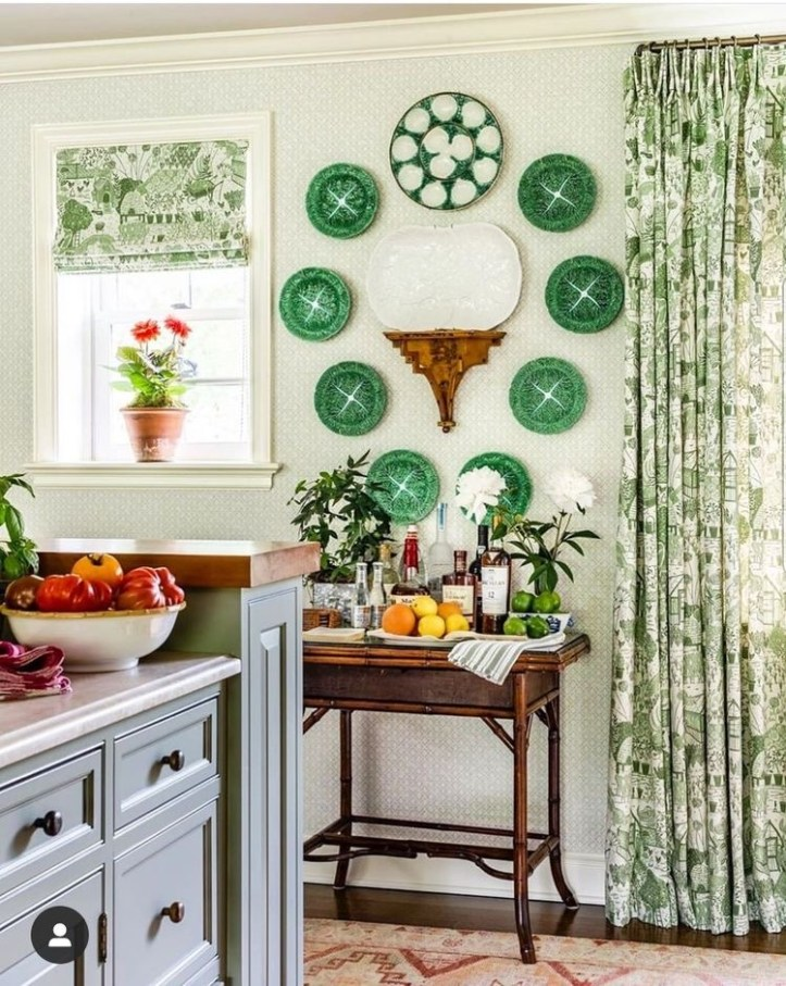 James T. Farmer kitchen plate wall withgreen oyster plates