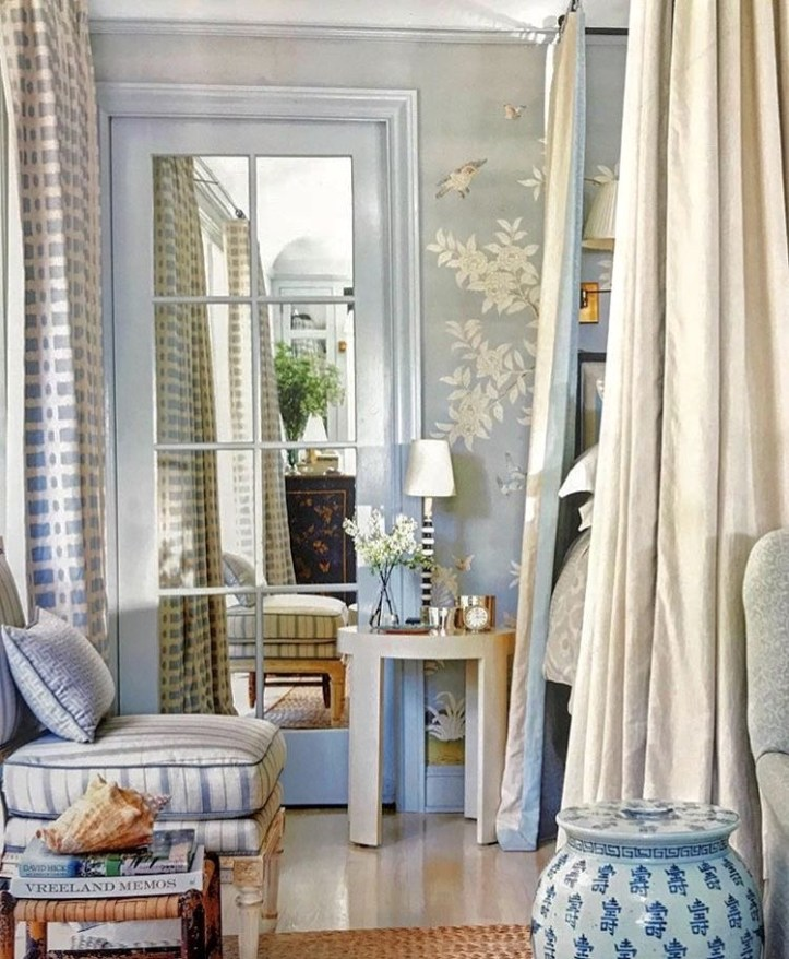 Mark D. Sikes pale blue bedroom
