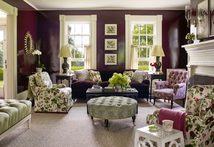 Purple and green living room