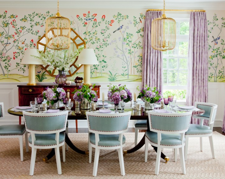 Colorful pastel dining room with chinoiserie wallpaper