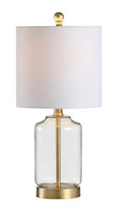 Clear glass and gold table lamp