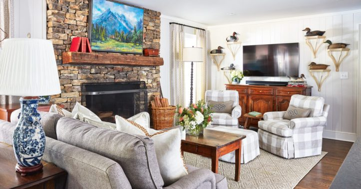 Maggie Griffin living room with plaid chairs