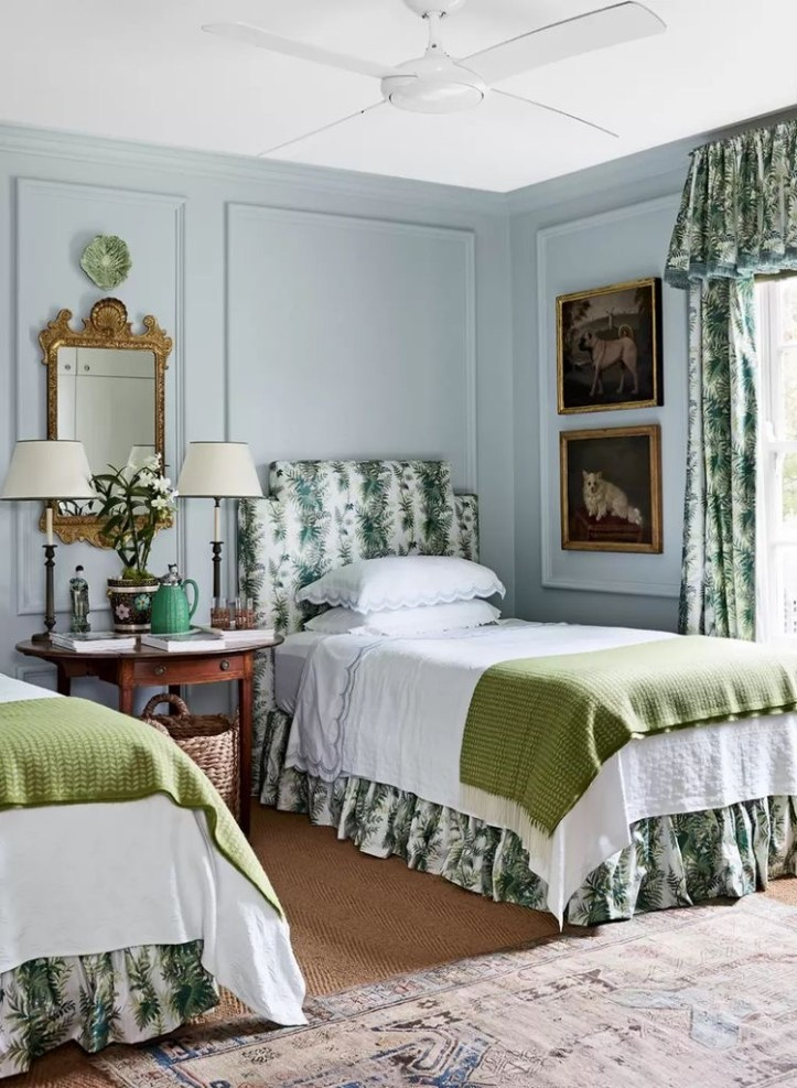 Elegant bedroom with two beds