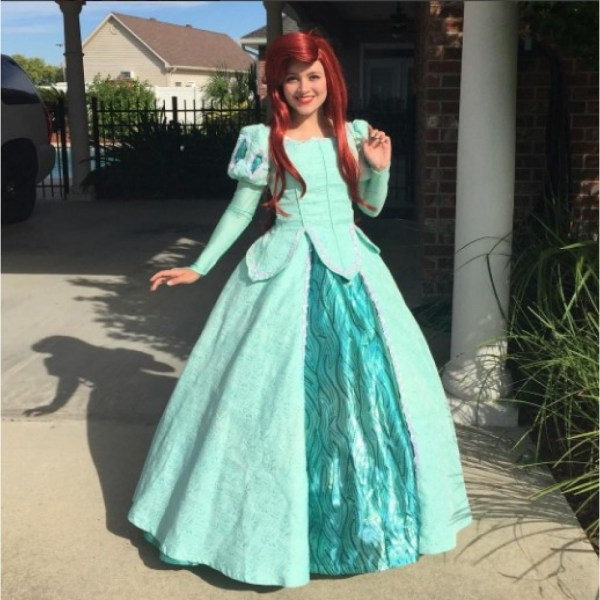 P290 Movies Cosplay Costume Movie Teal Ariel Princess