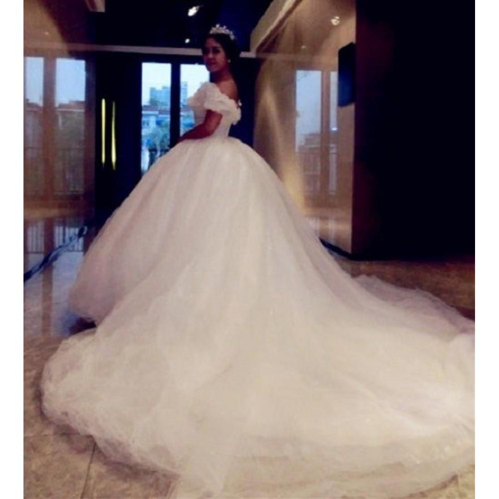 P303 Movie Costume Cinderella 2015 Ella white dress wedding
