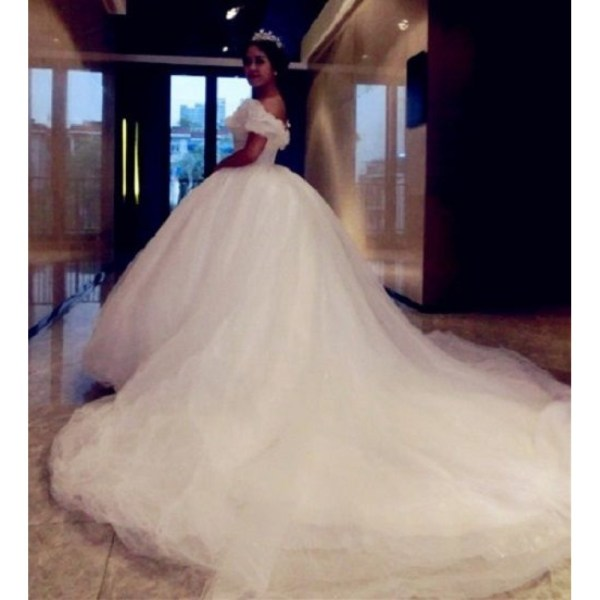 P303 Movie Costume Cinderella 2015 Ella White Dress