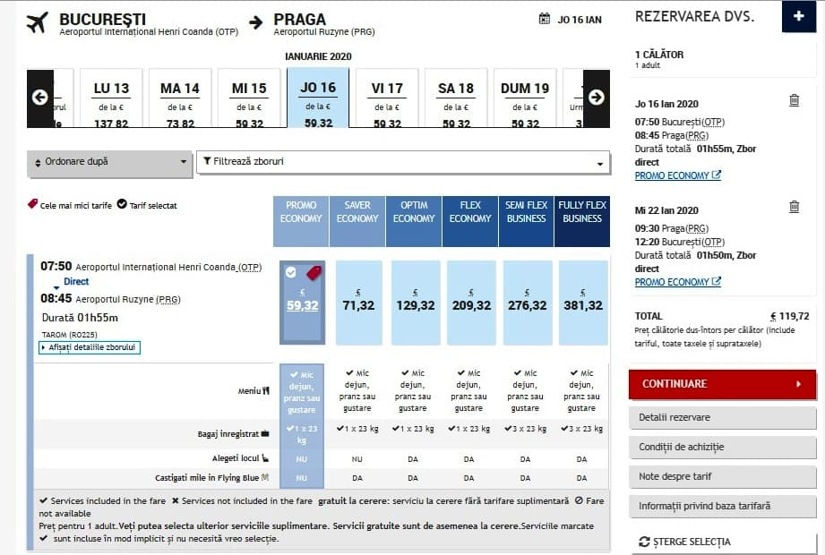 zboruri Tarom începând de la 119€
