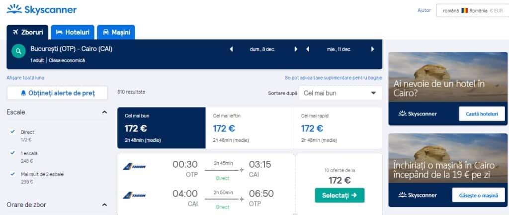 Zboruri București - Cairo: 172€ dus-întors