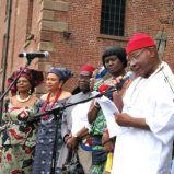 Chief Angus leads libation ceremony