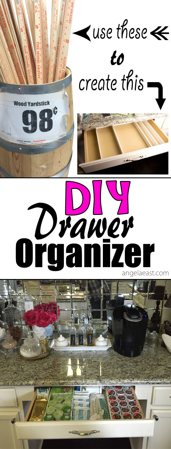 DIY How to create drawer separator with yard sticks on angelaeast.com | homeddecor | coffee bar | coffee station