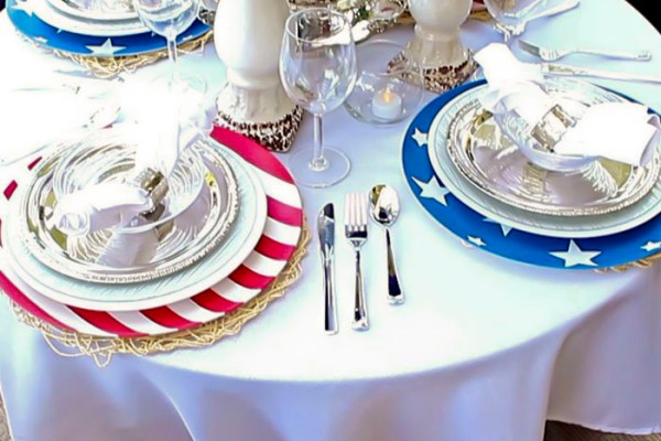 DIY Fourth of July Decorations Stars & Stripes Chargers   DIY Home Decor   Outdoor Living   Entertaining   Party Decor  Tablescape   Table Setting   4th of July