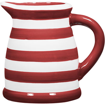 Home Essentials 124oz. Red/White Stripe Pitcher