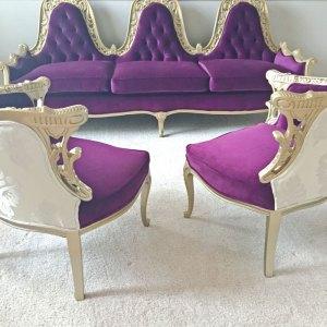 Reupholster Antique Furniture   Purple Velvet Sofa   Craig's List Find   Furniture DIY   Furniture Refinishing