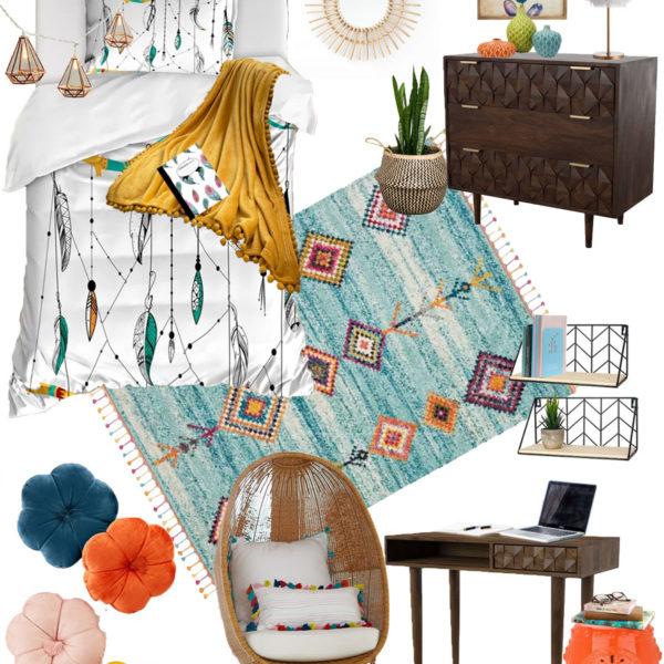 Boho Chic College Dorm Room or Teen Bedroom Mood Board