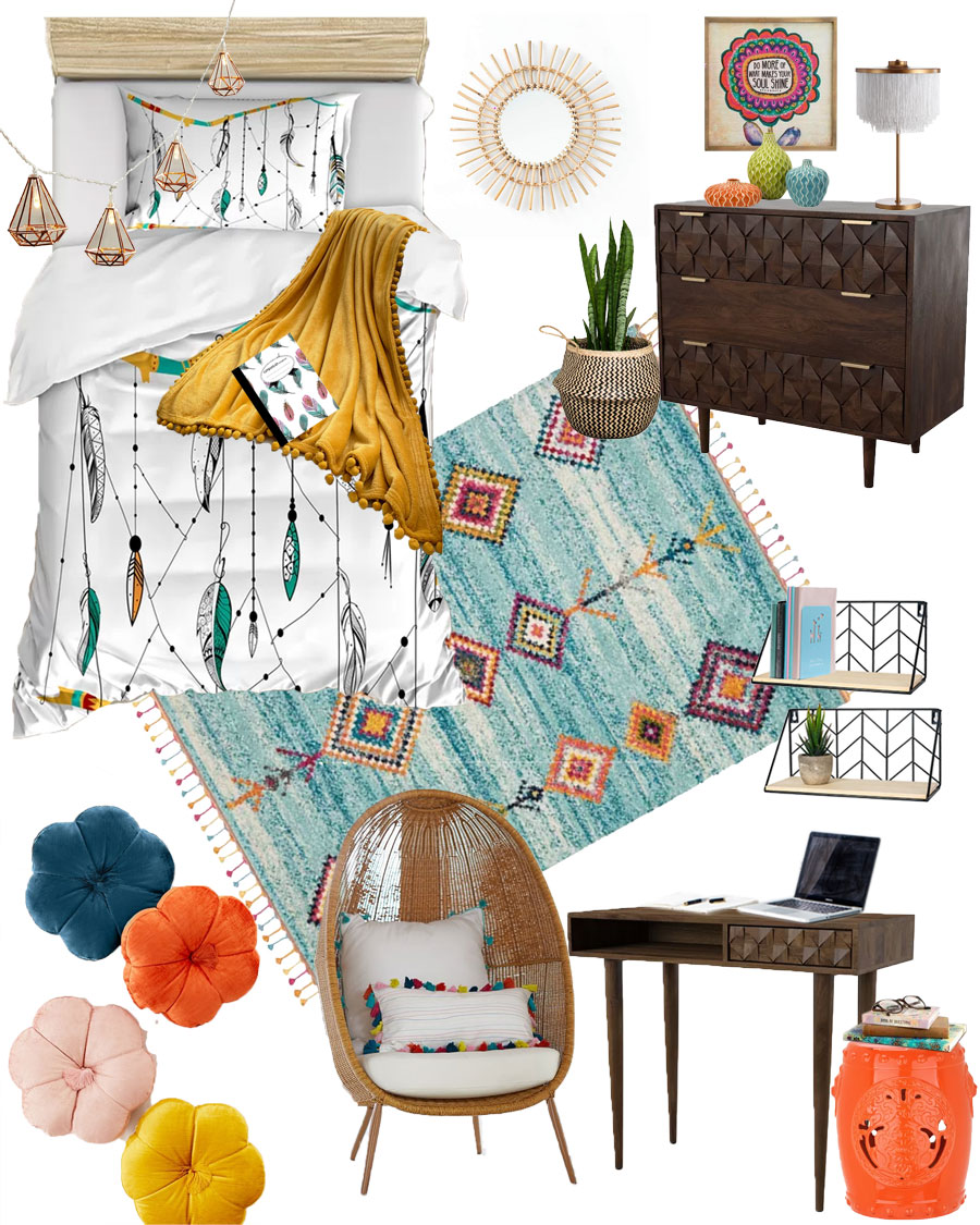 Boho Chic College Dorm Room or Teen Bedroom Mood Board. Bedroom Decorations | Pretty Decor | Hippie Decor | Bohemian Decorations