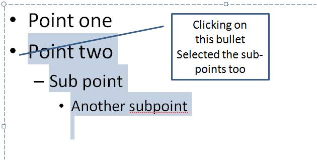 Selecting Multi-Level Bullets in PowerPoint