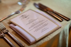 Gold and pearl menu cards designed by Titus Print