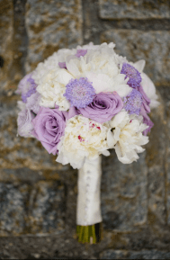 Consisted of purple roses and white peonies provided by A Modern Touch - Photo by Joe Foley Photography