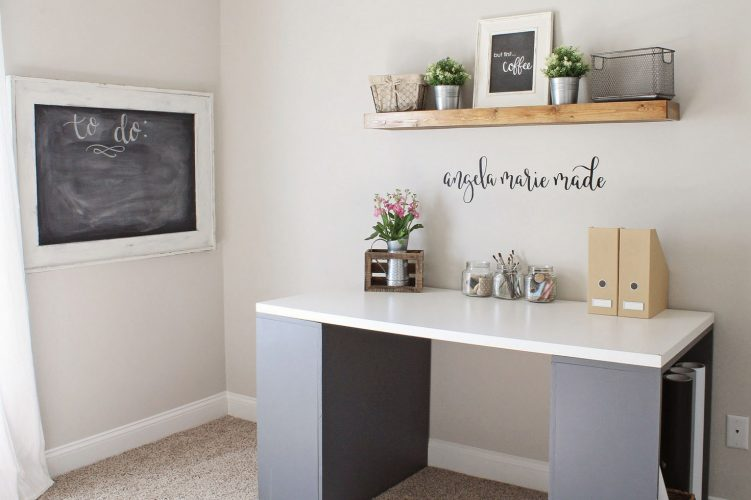 Chic home office White Rustic Chic Home Office Makeover Angela Marie Made Rustic Chic Home Office Reveal Angela Marie Made
