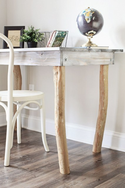 Rustic Tree Branch Desk DIY