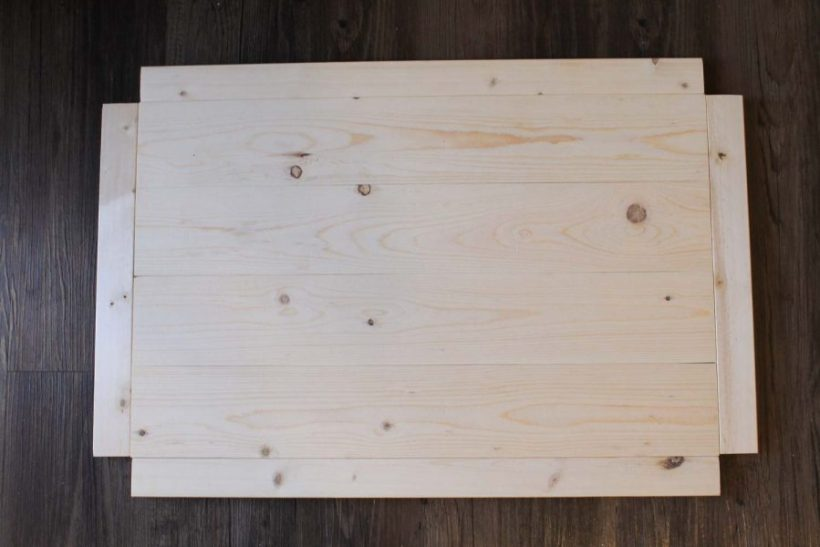 Assembling the bottom wood shelf of the DIY bar cart