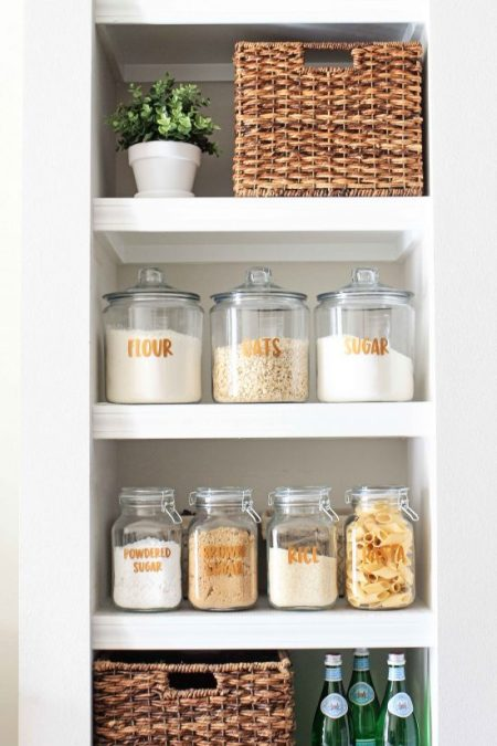 Open Pantry Using Bookshelves: Open Pantry Shelves And Free Pantry Labels Printable