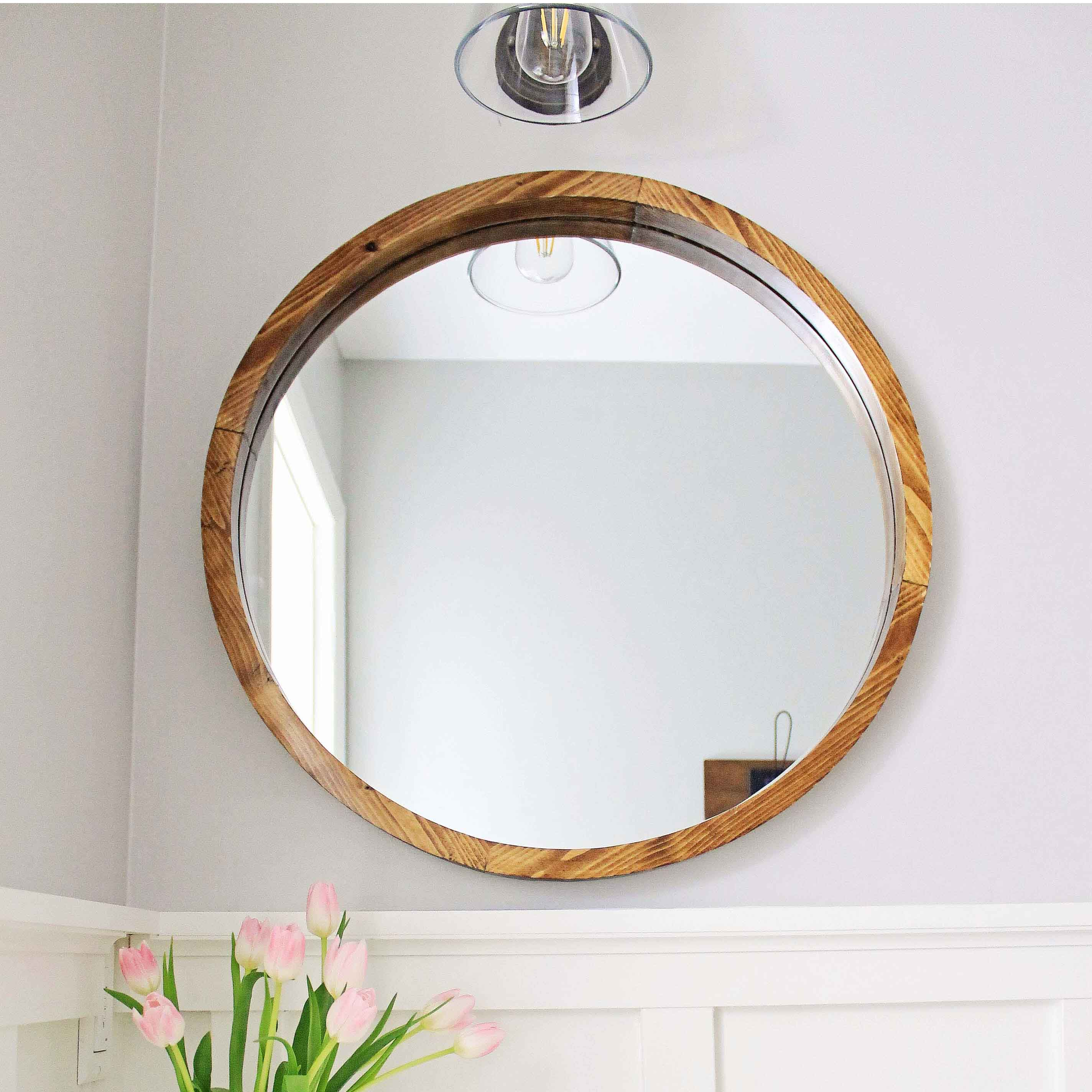 round wood mirror diy angela marie made - Mirror Frame