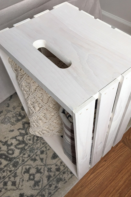 Crate Side Table with a weathered white wash finish