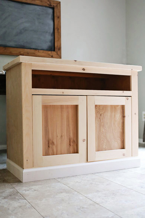 Unfinished TV stand before chalk paint