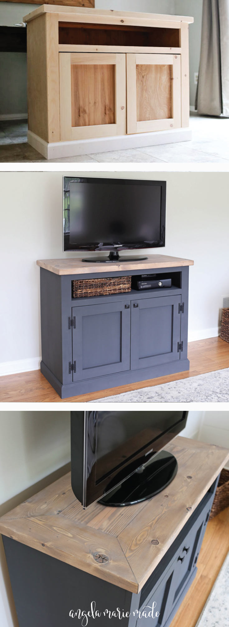 DIY Rustic TV Stand with a weathered wood finish