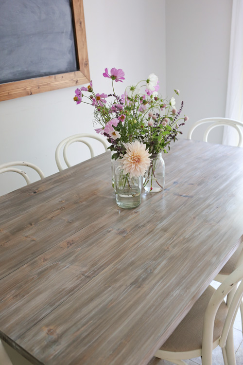 Farm Table Makeover with DIY weathered wood gray finish