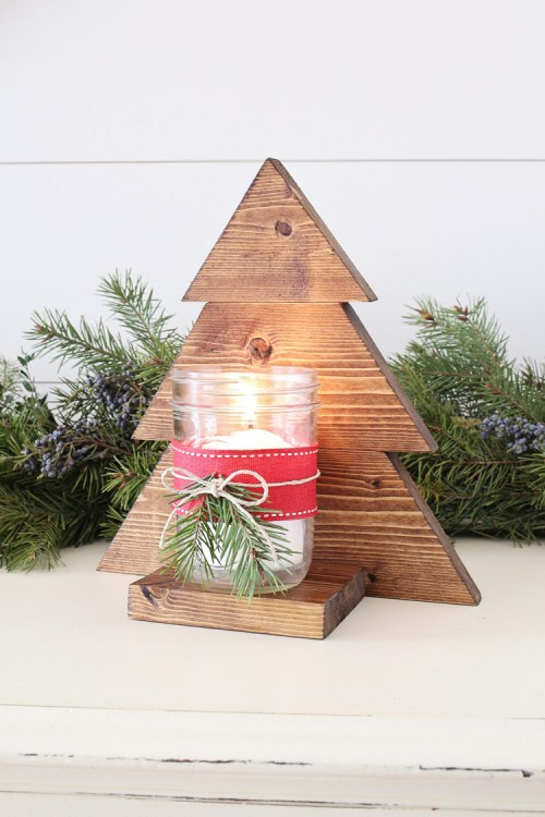 DIY Wood Christmas Tree Mason Jar Sconce