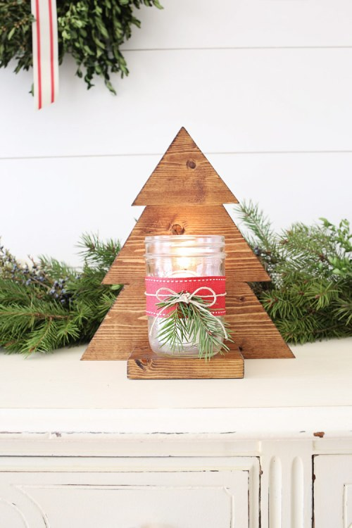 diy wood christmas tree mason jar sconce - Diy Wood Christmas Decorations