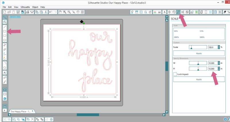 Add a square cut trace line around design in Silhouette Studio
