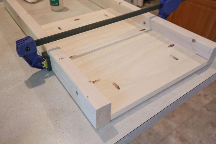 attaching wood vanity legs to diy bathroom vanity sides