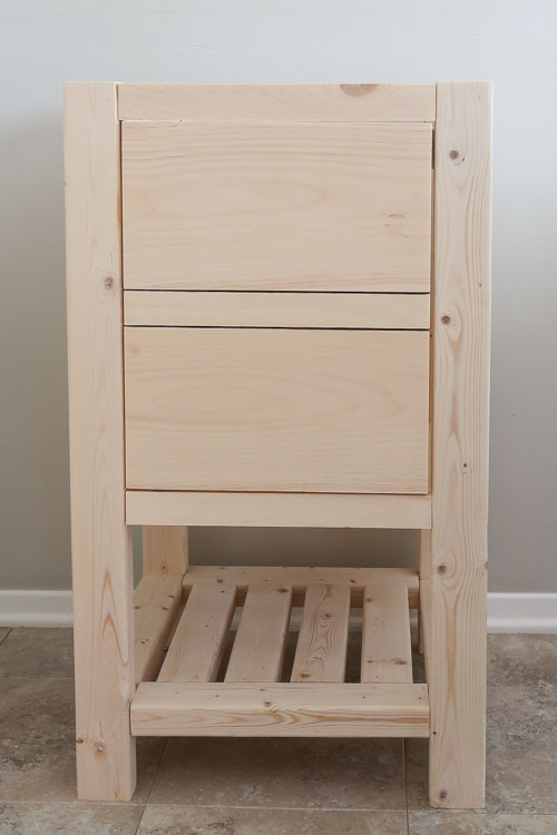 diy bathroom vanity before stain