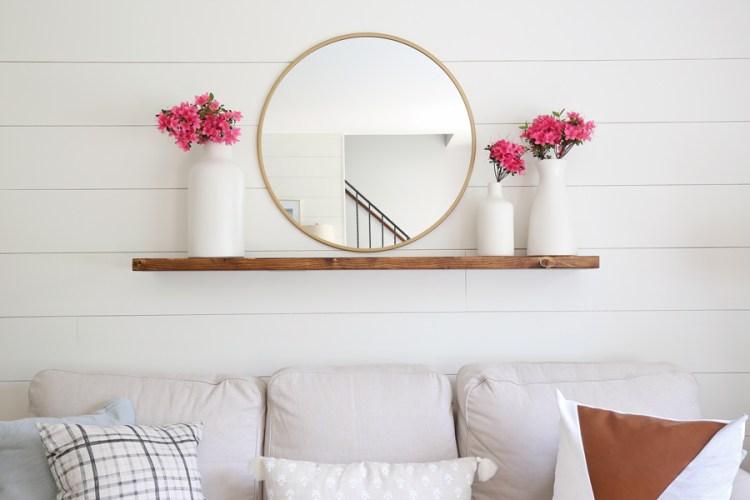 Easy DIY floating shelf with brackets on wall