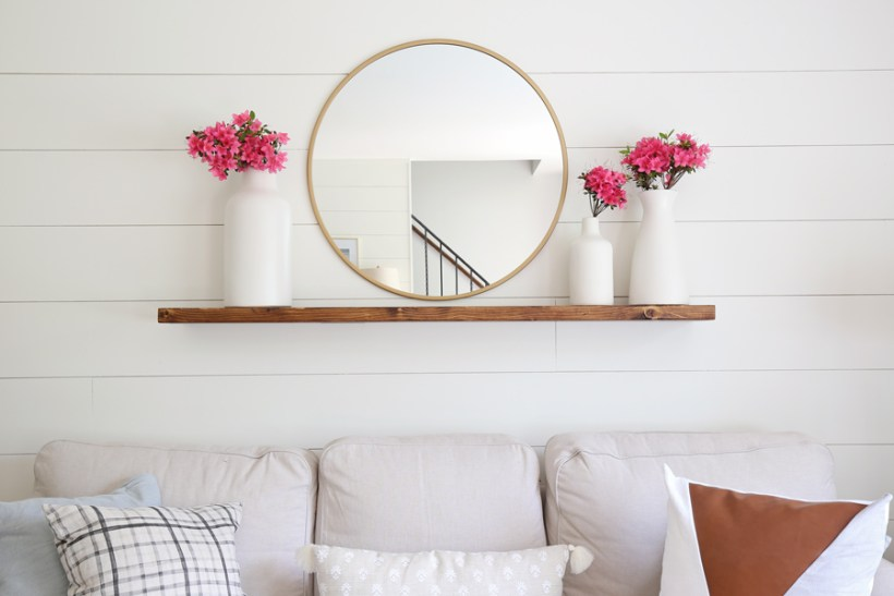 Easy DIY floating shelf with minwax provincial stain