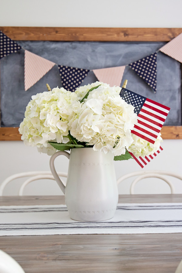 4th of July hydrangea centerpiece