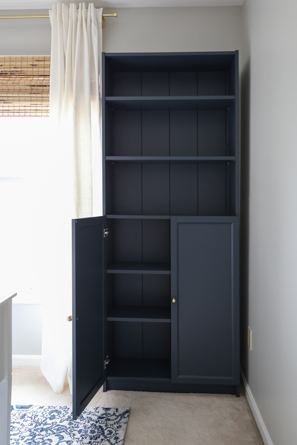 IKEA Billy bookcase hack with shiplap in an office